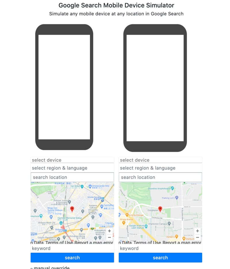 Google Search Mobile Device Simulator