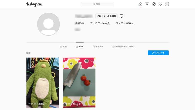 Instagramプロフィール画面