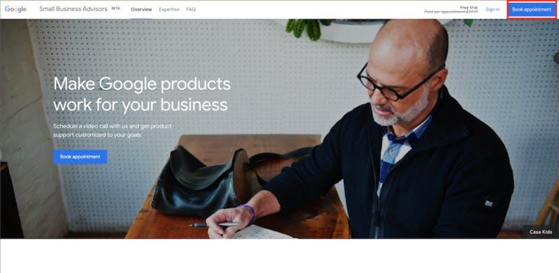 Google スモールビジネスアドバイザーサービスサイト予約画面