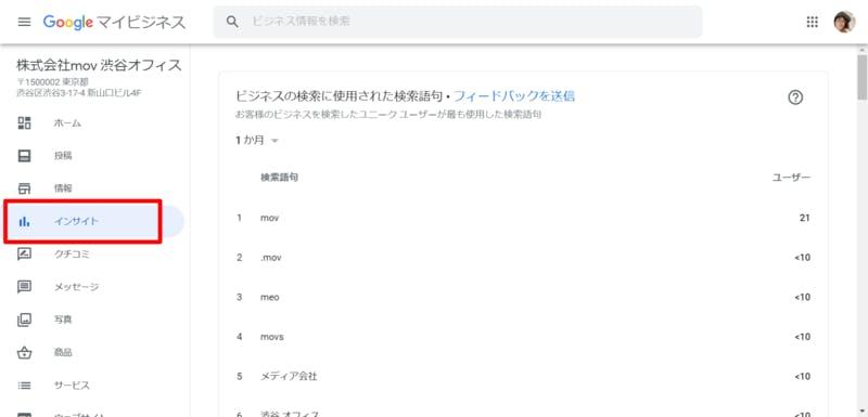 Google マイビジネスの「インサイト」を開いた画面