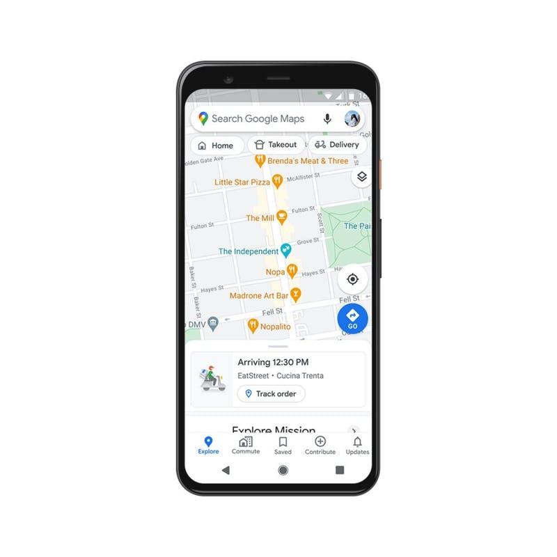 デリバリーとテイクアウトの進捗状況がGoogle マップ上に表示される