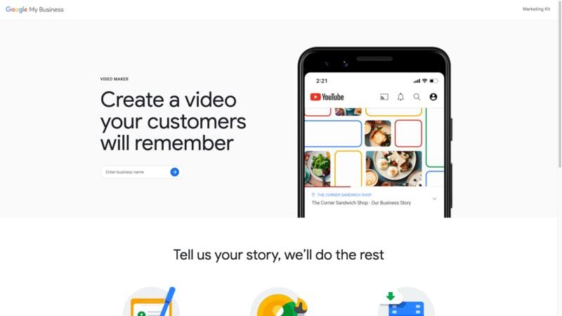 Google マイビジネスの新機能、ビデオメーカーのWebページ