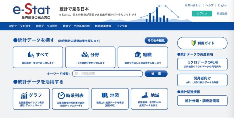 e-Stat 政府統計の総合窓口 ホーム画面