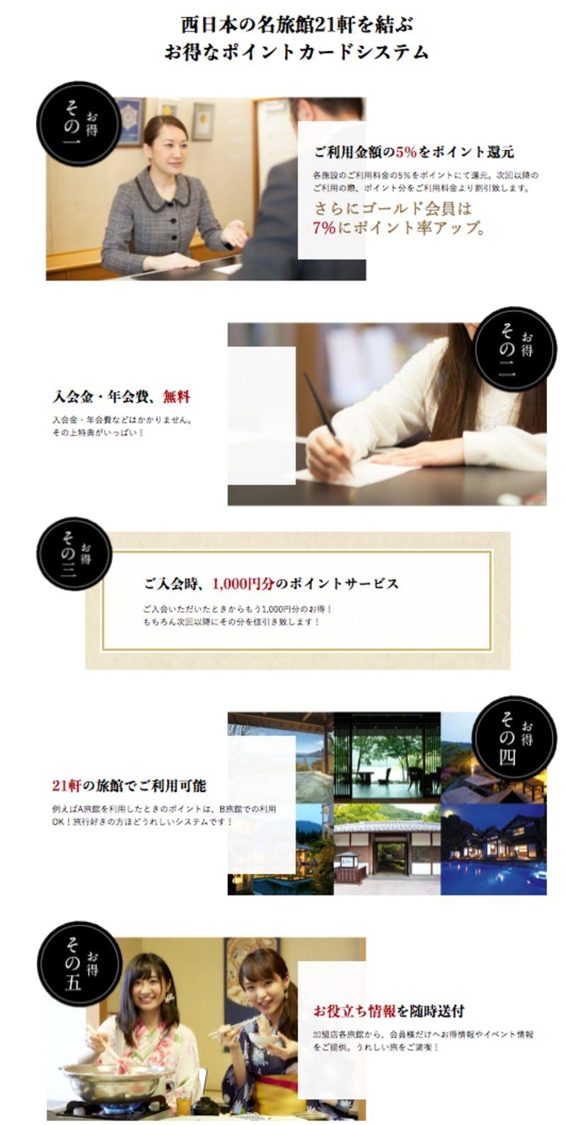 宿倶楽部のポイントカードは西日本の名旅館21軒が加盟するポイントカード