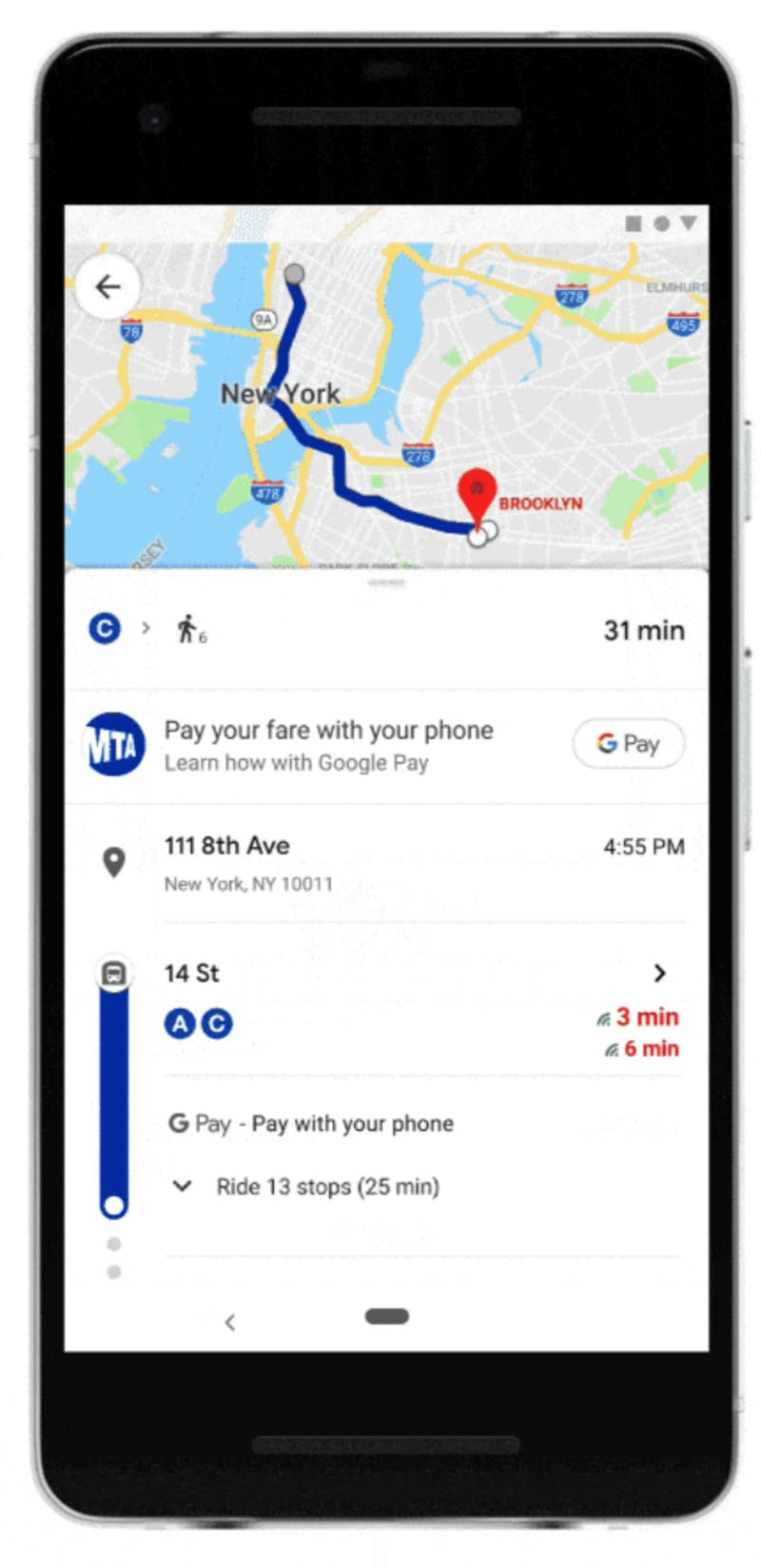 Google マップで乗車料金を支払う画面