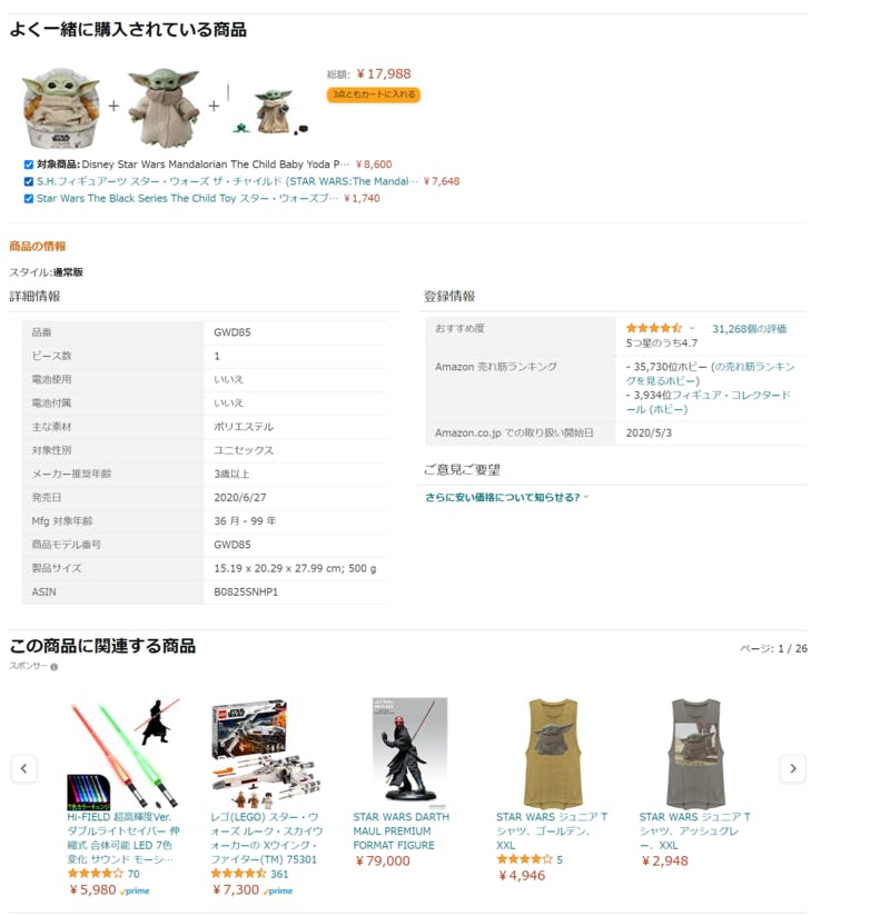 Amazonの「よく一緒に購入されている商品」