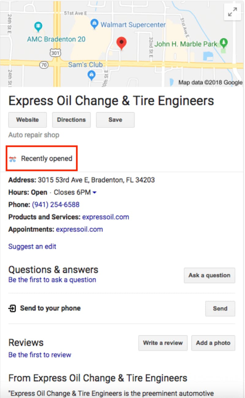 Recently opened google my business