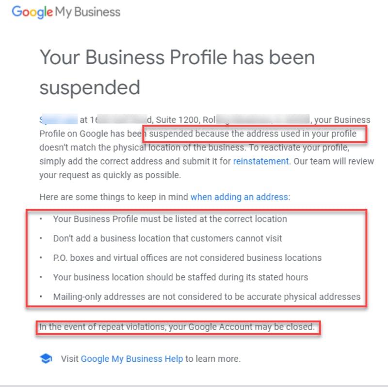 Google マイビジネスが停止された際に送信される新しい通知メール
