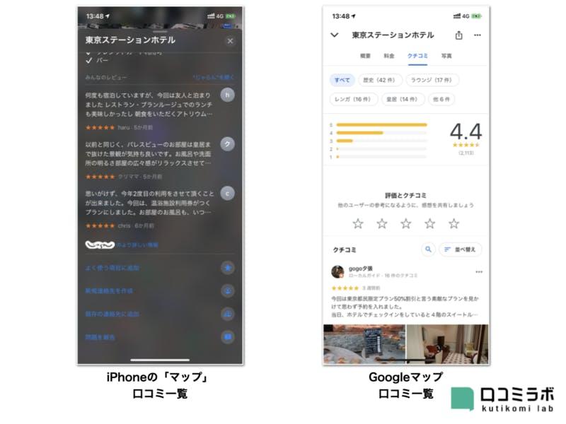 iPhoneの「マップ」とGoogle マップの口コミ一覧