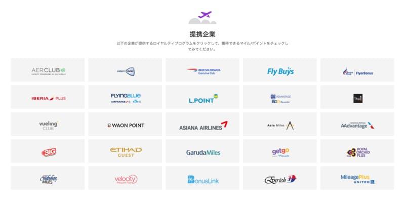 アゴダポイントマックスの提携企業