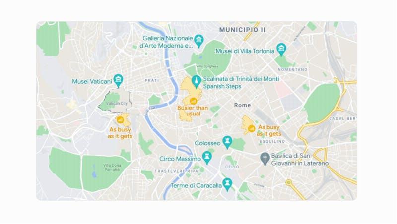 混雑している地域を地図上に表示