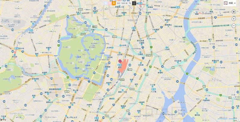 Bingマップの地図画面