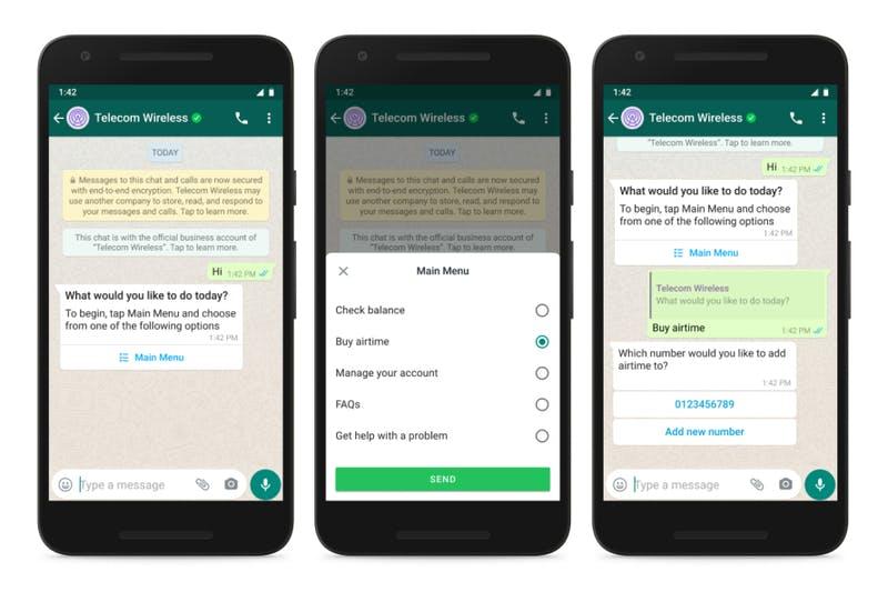WhatsApp Businessのメッセージにメニューや回答ボタンが追加
