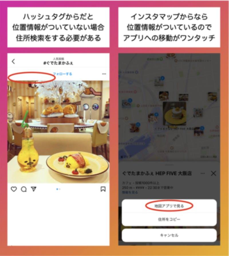 Instagramのハッシュタグ検索と地図検索の違い