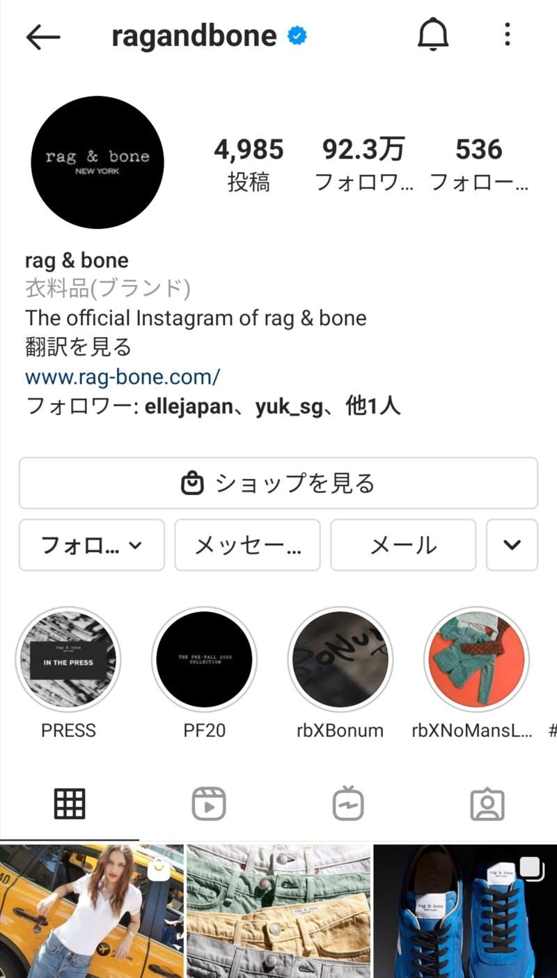 rag & boneの公式Instagram