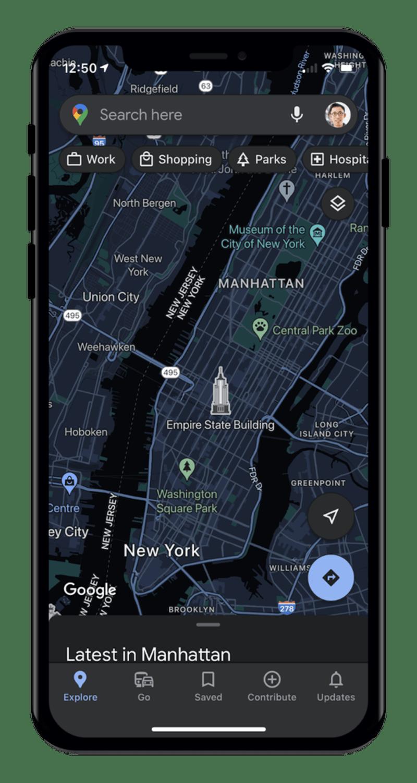 Googleマップ「ダークモード」