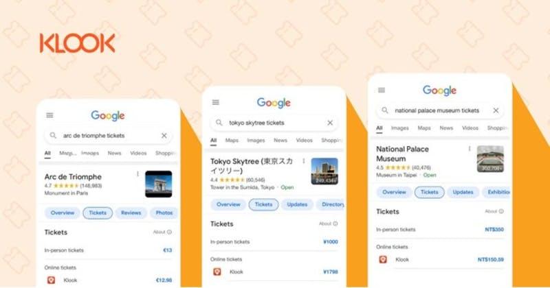 KlookとGoogleとの新たな連携「Google Things to do」プラットフォームのイメージ画像