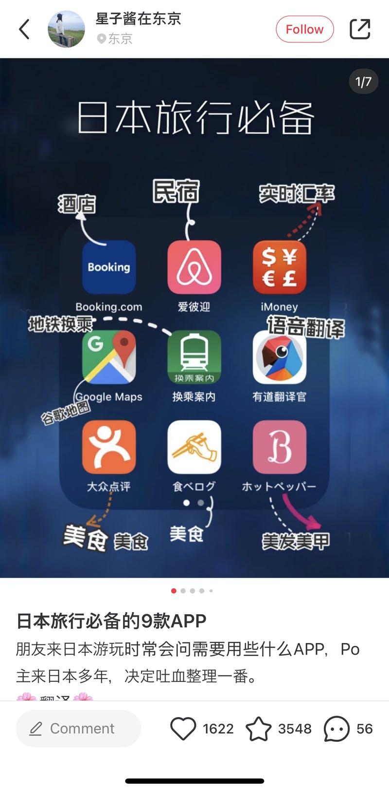 日本旅行の際に使うべき9つのアプリを紹介するSNS投稿